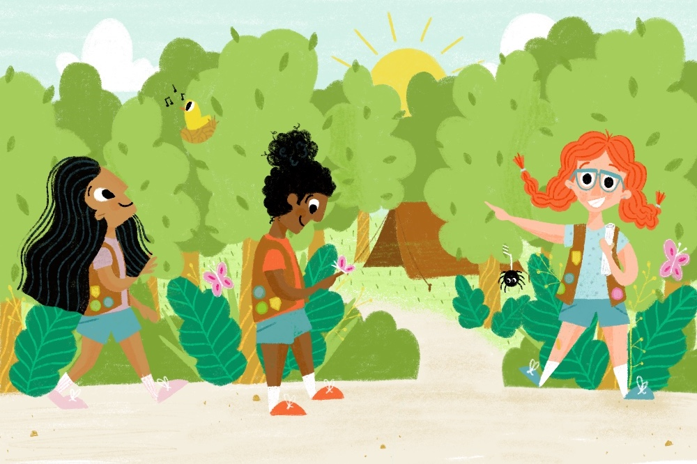 Girl Scouts on the South Side Go Camping  Editorial illustration for a radio spot about girl scouts on the south side of Chicago fundraising for their summer camping trip.