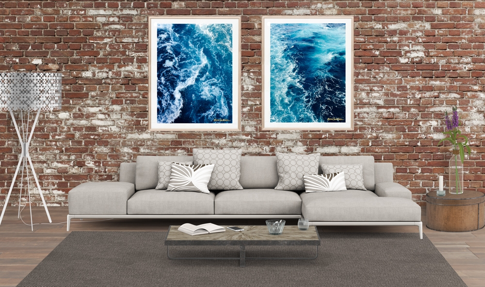 Custom Wall Art Shown Here: Waving 200 Series (L)   Waving 100 Series B (R)