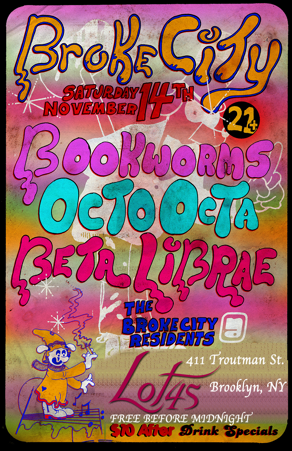 Broke City monthly party returns to Lot45 Nov 14th with 3 local talent DJs: Bookworms, Octo Octa, & Beta Librae. Expect deep soulful house and psychedelic techno