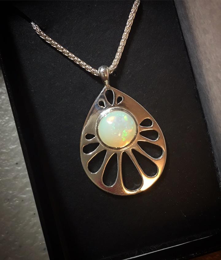 Opal Art Deco Pendant