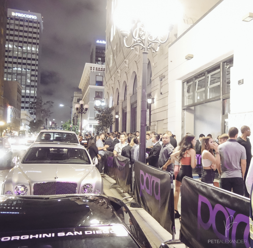 "the grand opening line outside ""parq"" on 6th and broadway was pretty thick at just 10pm."