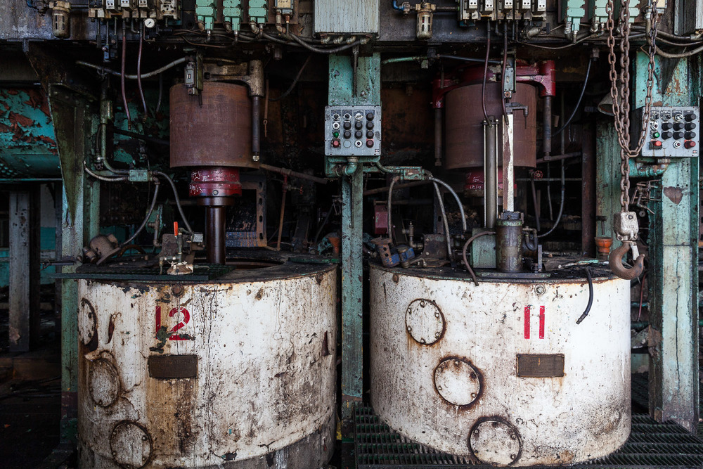 Pair of Roberts Centrifugal Machines, Second Floor, Raw Sugar Wash House, Domino Sugar Factory