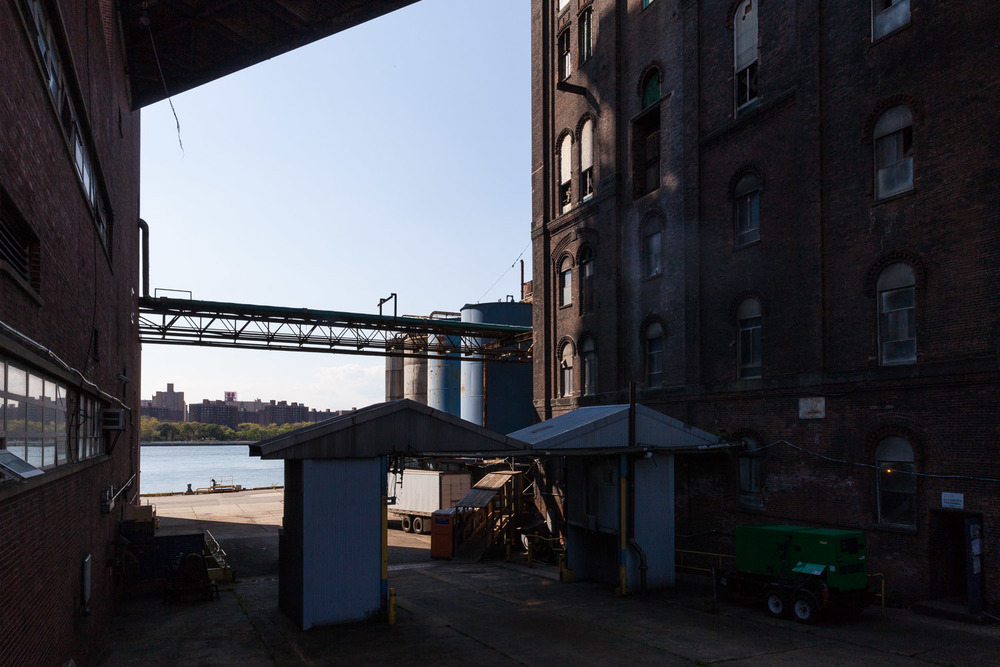 Looking towards the East River, Under the Bridge and Conveyor Bridge, Domino Sugar Factory