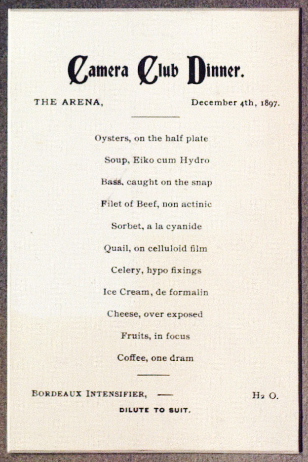 Camera Club Dinner, The Arena, December 4th, 1897. Menu detail.*