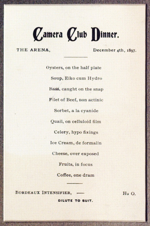 Camera Club Dinner, The Arena, December 4th, 1897. Menu detail.