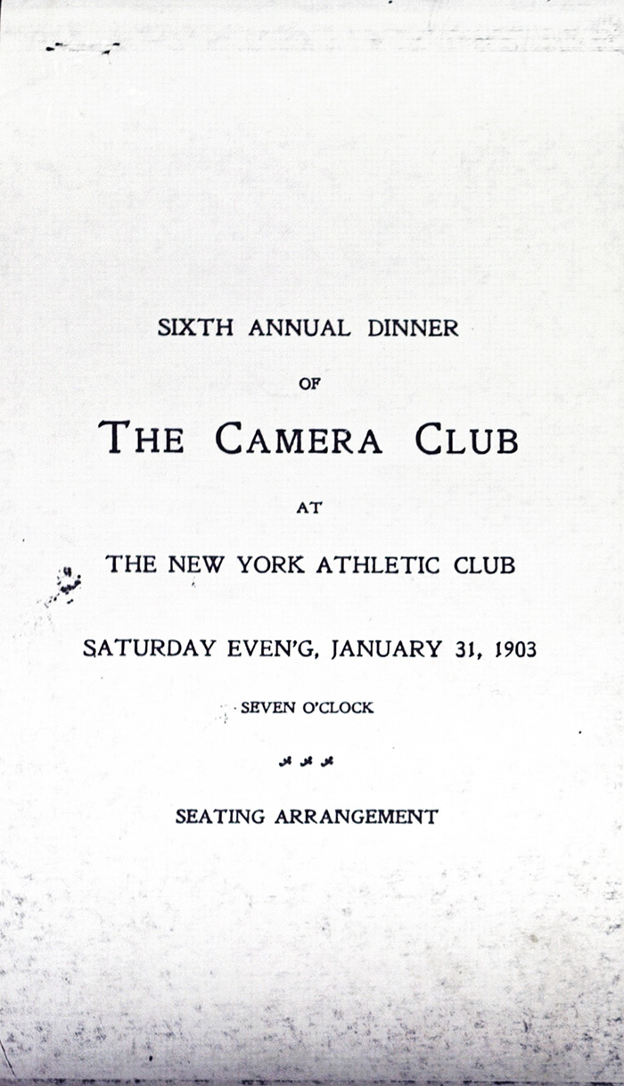 Camera Club of New York, Sixth Annual Dinner, 1903, menu cover.*