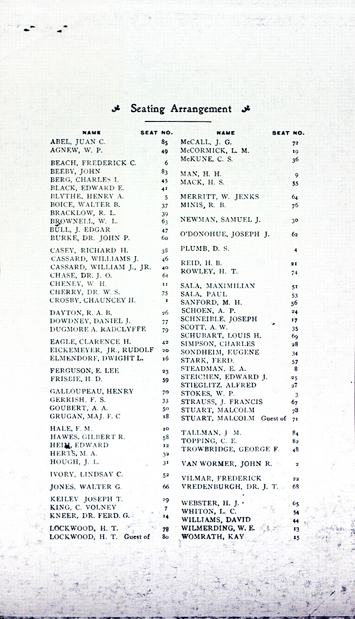 Camera Club of New York, Sixth Annual Dinner, 1903, seating chart.*
