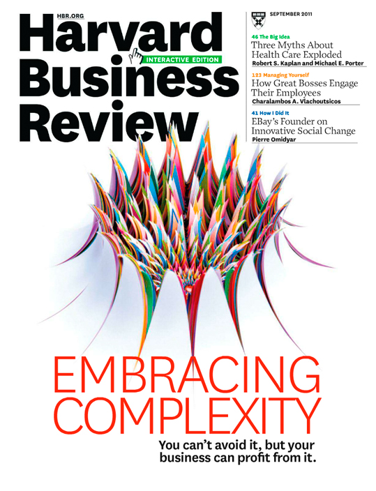 The cover of  Harvard Business Review , September 2011 featuring  Jen Stark's    Burst  , 12 x 12 x 3 inches, hand-cut paper, 2007. Photograph by Harlan Erskine, 2007.