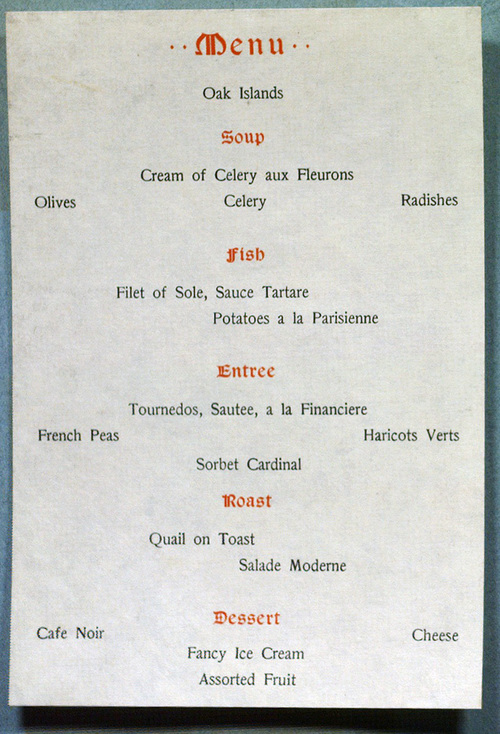 Camera Club of New York, Third Annual Dinner, 1899, menu inside detail