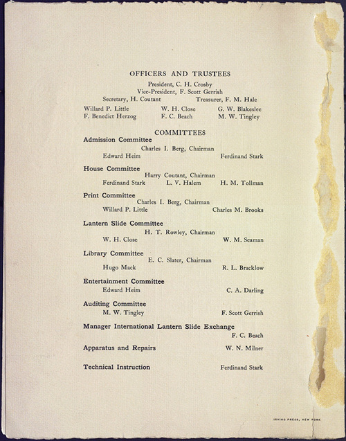Annual Entertainment program for the Camera Club of New York at the Carnegie Lyceum. May 25, 1908. Program credits.