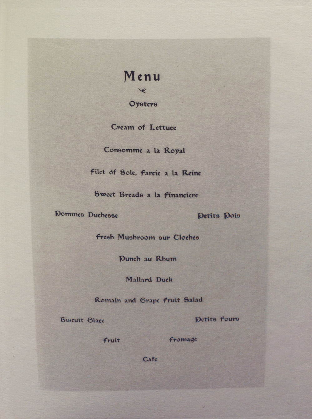 The Seventh Annual Dinner, The Camera Club. Inside menu right page.*