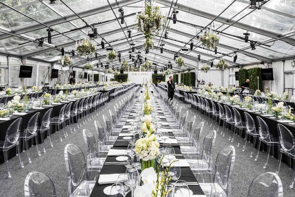 Porcelanosa NYC Opening Event, main dining tent. © harlan erskine 2015.