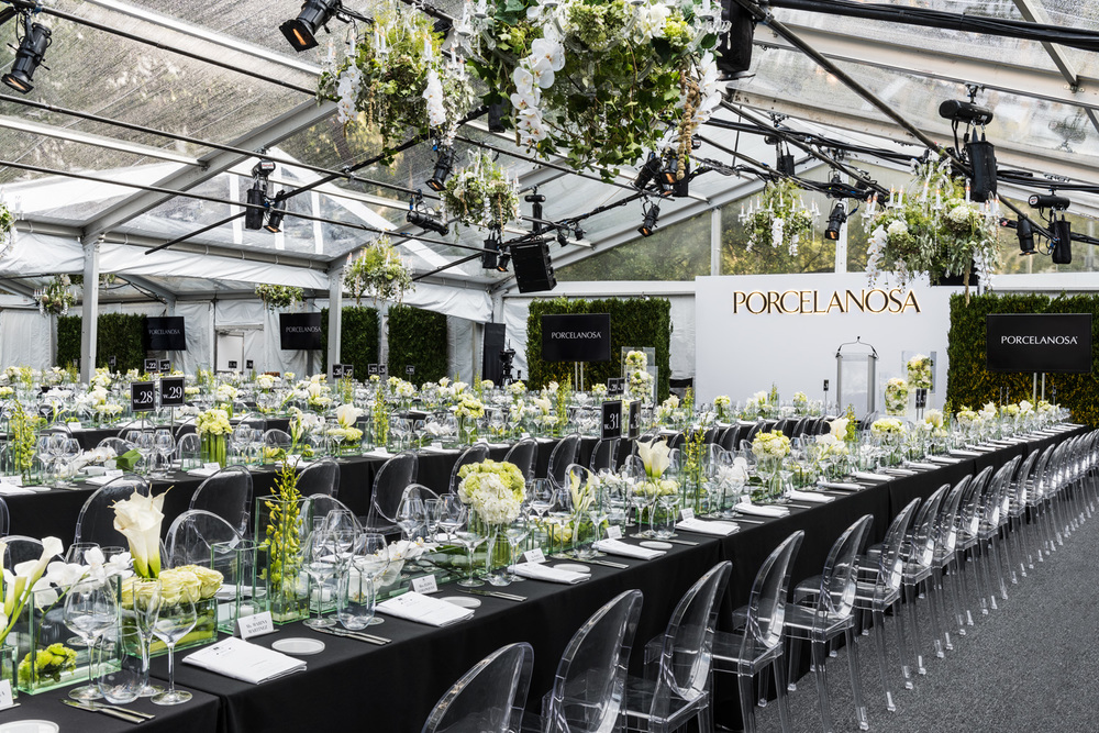 Porcelanosa NYC Opening Event, main dining tent front of house. © harlan erskine 2015.