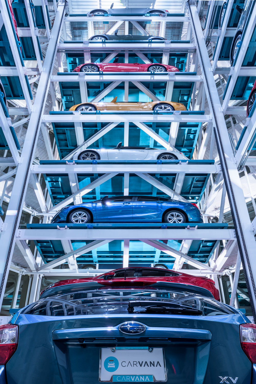 Inside view of Carvana's 8-story Car Vending Machine, Washington, DC. © harlan erskine 2018.