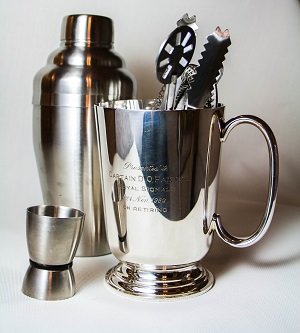 5-piece cocktail shaker set, $18.99, from Amazon and silver-plate mug from Portobello road market in London. Get a similar mug from ebay.