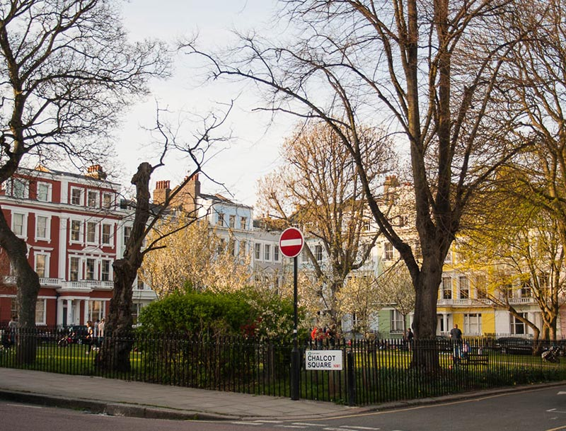 Chalcot square in Primrose Hill, next door to St John's Wood