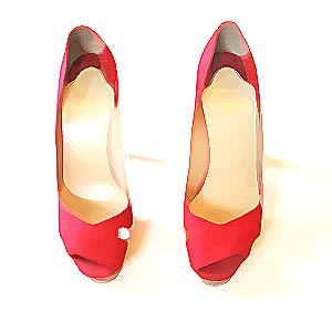 Louboutin red canvas pumps, USD$298