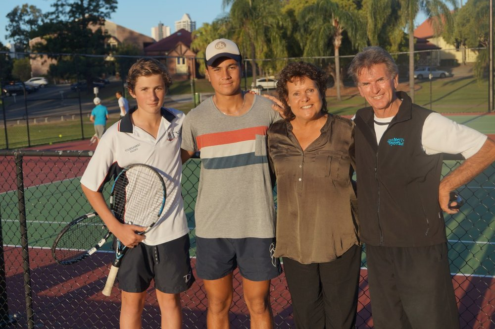 This photo was taken at the courts of the Saunders Tennis Academy at The Southport School. From left Jesse Russell, Dwayne Anderson, Evonne and Terry Saunders the STA boss.