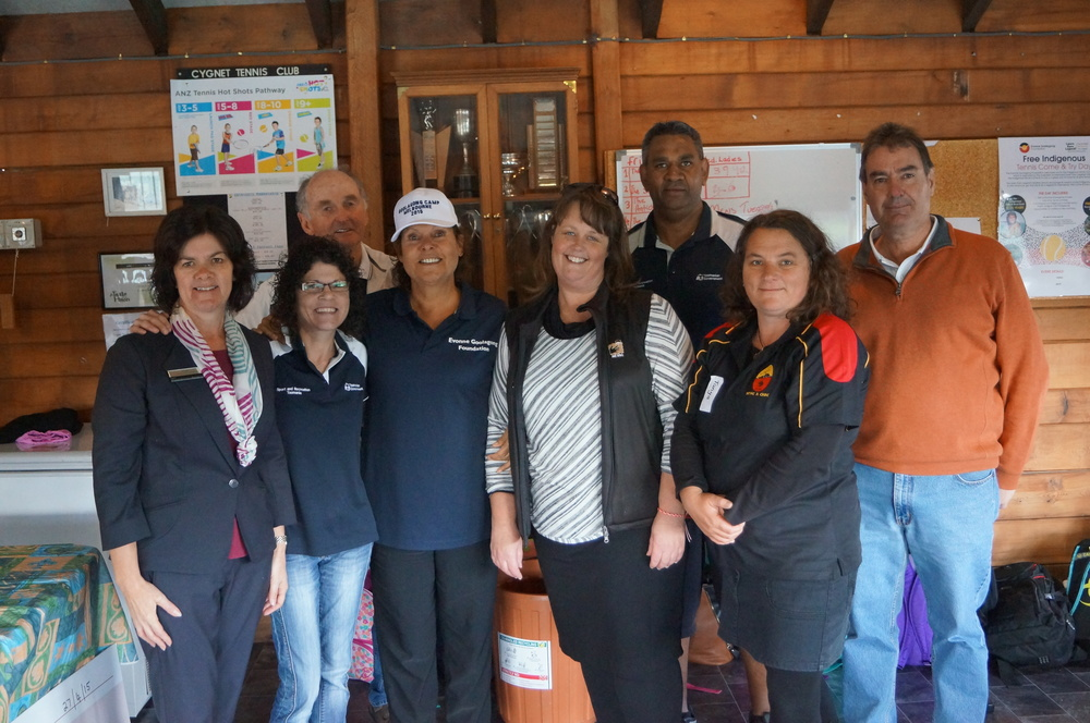 Evonne with C & T helpers in Cygnet Tasmania.