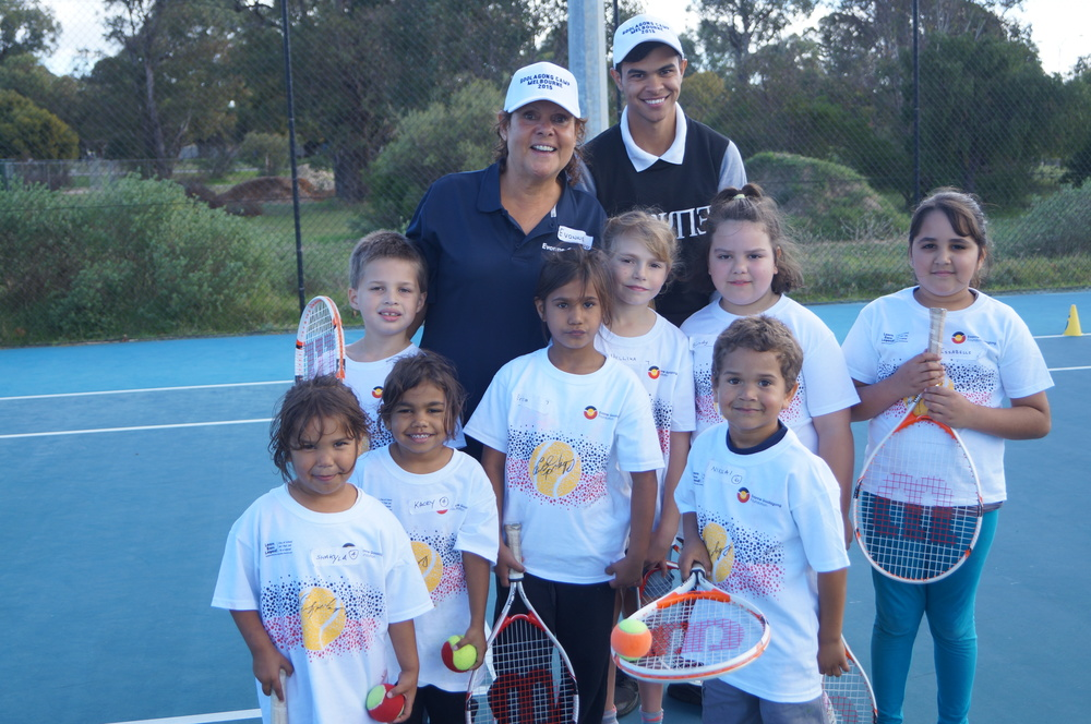 Evonne and one of our coaches, Baden with hot shot kids in Bunbury