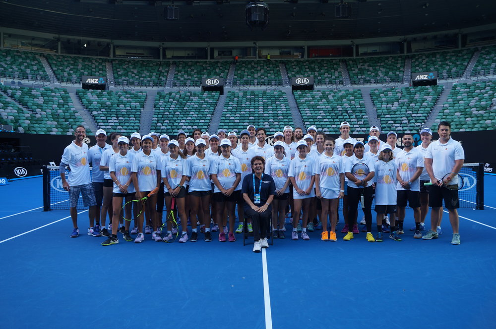 GNDC 2018 all smiles after playing on Rod Laver Arena  during the Open – A big thank you again to Tennis Australia