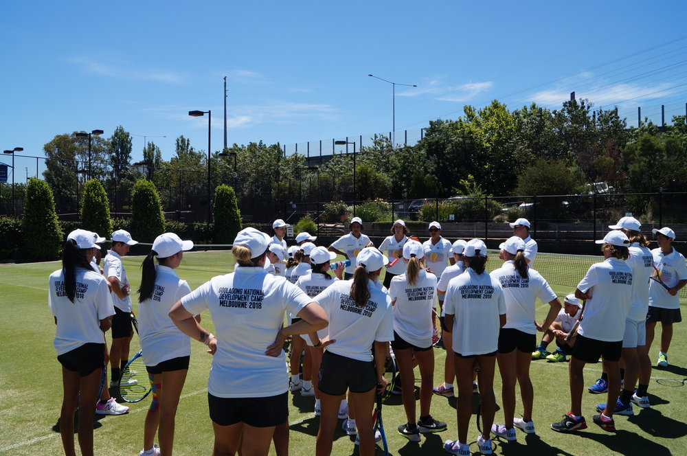 Dream, Believe and LEARN on the grass at Kooyong