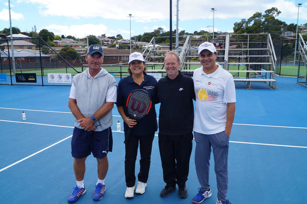 A big thank you to Danny Clarke, President Burnie Tennis pictured here with Evonne and Anzac for hosting the day. Head Pro Chris Chandler will again be coaching the Indigenous youngsters selected from the C&T Day. A second successful year for EGF in Burnie