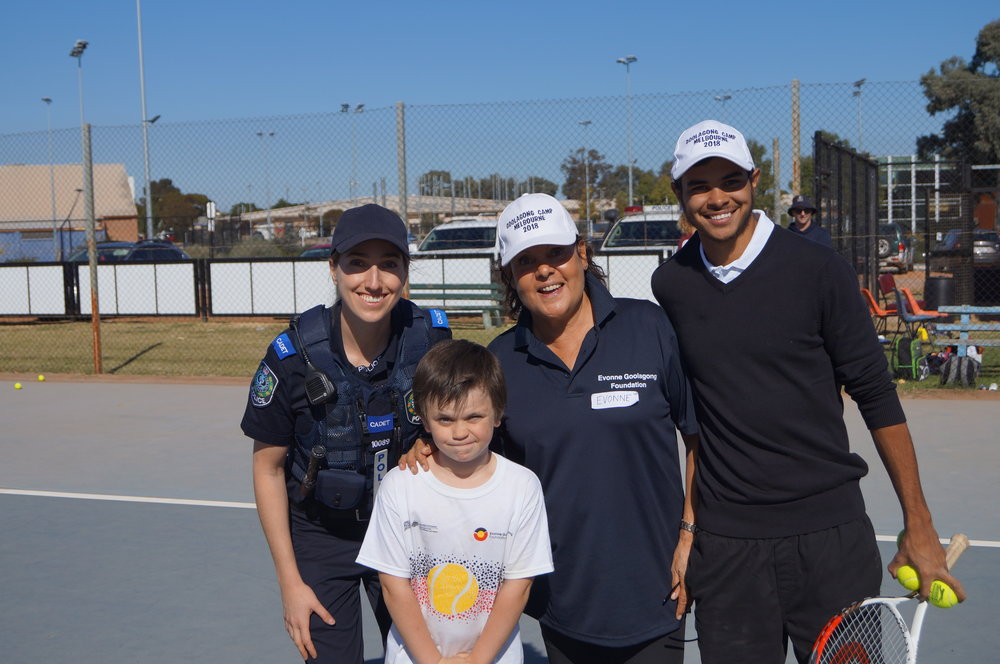 Evonne and EGF coach Baden Barker are all smiles – it's really great to have Port Augusta Police joining us for a second year
