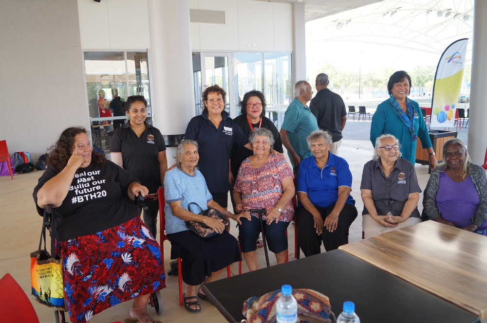 "Wonderful to have the Larrakia Nation Elders enjoy the day with us in Darwin – Big thanks to Coach Harry Lee Schell""s Mum Andrea Lee for organising their big day out"