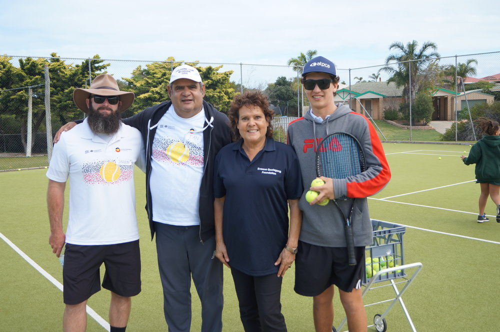Thanks Jarron Kretschmann (who is about to play Ned Kelly on the big screen!) and SunCity Tennis for inviting us to Geraldton. 102 girls and boys attended the day and. Ian, Evonne, Alex and the rest of the EGF crew had a great time working with all the youngsters