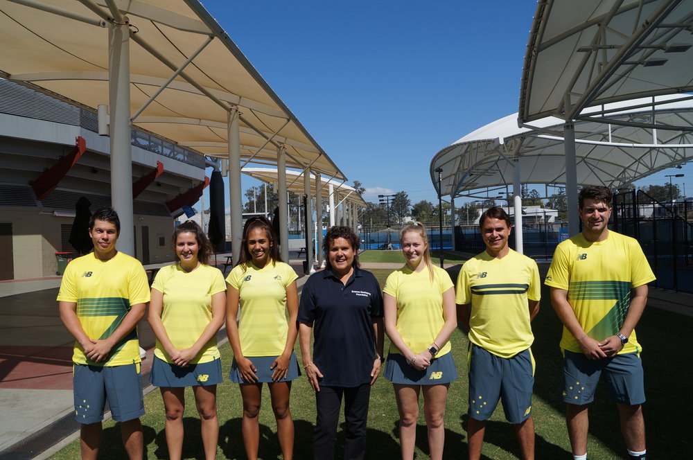 L -R Harry Lee-Schell, Ella Merritt, Natalie Roe, Evonne Goolagong-Cawley, Janaya Smith, Anzac Leidig and Adam Lasky