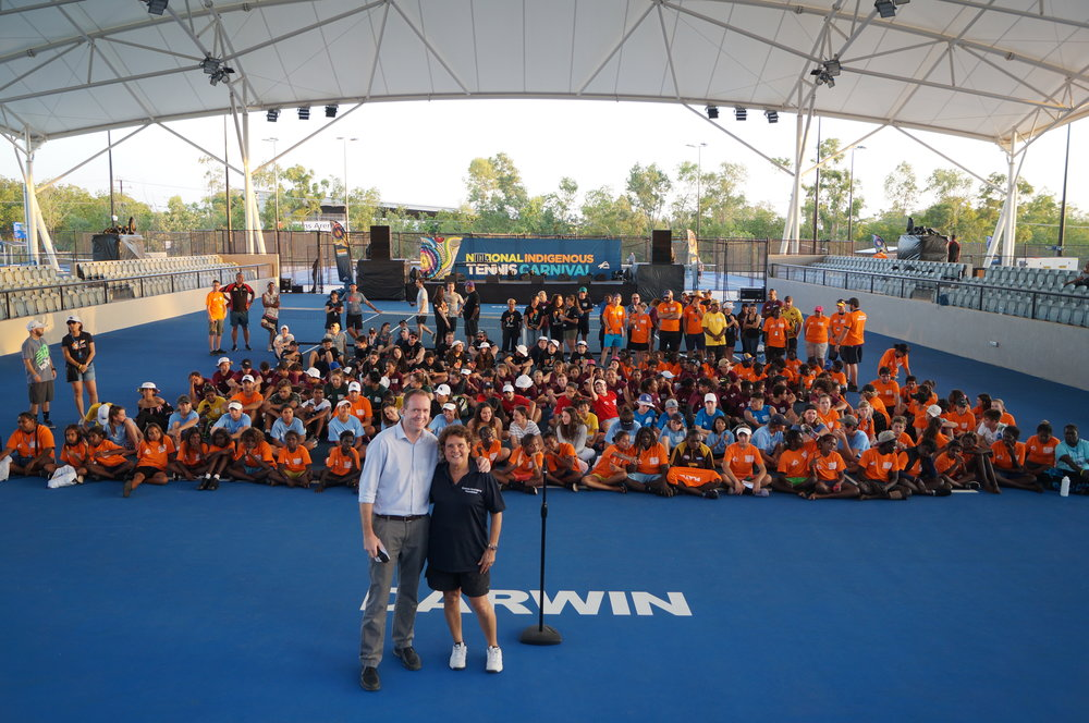 NT Tennis CEO Sam Gibson and EGF Chairperson Evonne Goolagong-Cawley proudly welcome the nearly 200 participants of the first NITC on Centre Court at the new Darwin International Tennis Centre.
