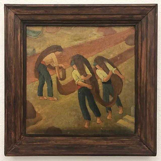 Composition.... 👌🏽_________________________________________________________ Pêcheur Ramassant les Filets, 1931 by Chamaze Dane. #chamazedane #collioure #mussedartmodernedecollioure #oiloncanvas #huilesurtoile #museedartcollioure