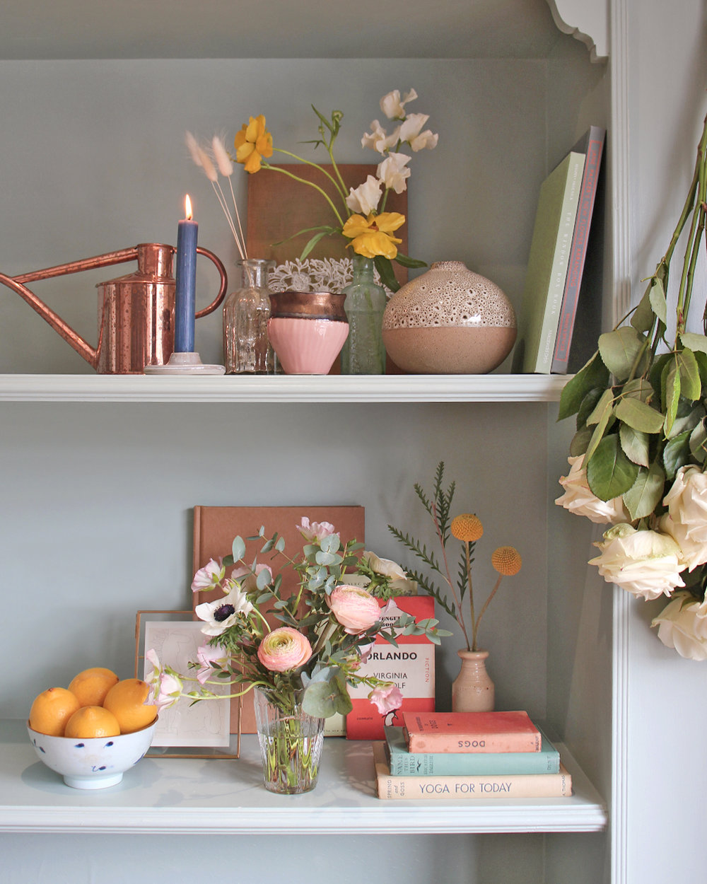Summer Floral & Interior Styling Workshop - Do you want to learn the art of styling? Maybe you'd like to take beautifully styled images for your website, blog or Instagram? Do you have a camera but have no idea how to use it?If this sounds like you I'm sure you will love this interior and floral styling workshop. You will learn how to create your own hand-tied bouquet, style a beautiful floral display, use visual storytelling in your photography, and will have the opportunity to try your hand at styling a celebration table.We will focus on prop & interior styling as well as how to prepare a table ready for a beautiful gathering. You will have the chance to style beautiful scenes using your own bouquet of flowers and then learn how to take photos of your work.—- Pip, the owner of the beautiful flower shop The Flower Folk, will teach you how to make your own small hand tied bouquet which can be used in the styling lessons.- I will then run through how to create the perfect shelfie, a key part of interior styling. Styling a shelf properly can be incredibly tricky to get right but I will teach you all the rules and theory before moving on to the practical side of things.- You will also learn how to design and style a stunning celebration table to help you host summer gatherings. The tools learnt in this part of the workshop will also come in so handy for Christmas and Easter etc.- Finally you will have the chance to learn how to use your phone or DSLR camera properly. I'll share my photo tips so you'll leave with the knowledge and confidence to shoot your own snaps.—If you have an interest in styling your home or products this workshop will help guide you through all the basics so you leave feeling confident and inspired.