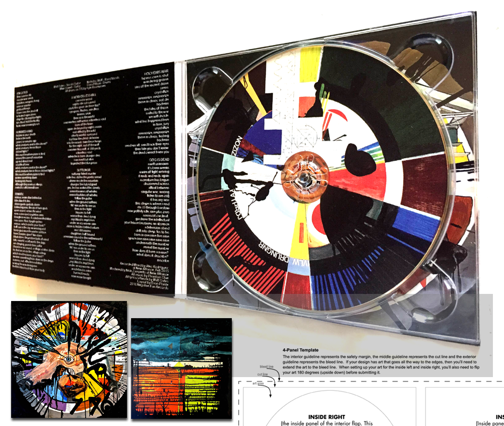 Phantom Glue CD/LP 4 Color CMYK 4-panel high gloss photographic digi-pak for Negative Fun Records.