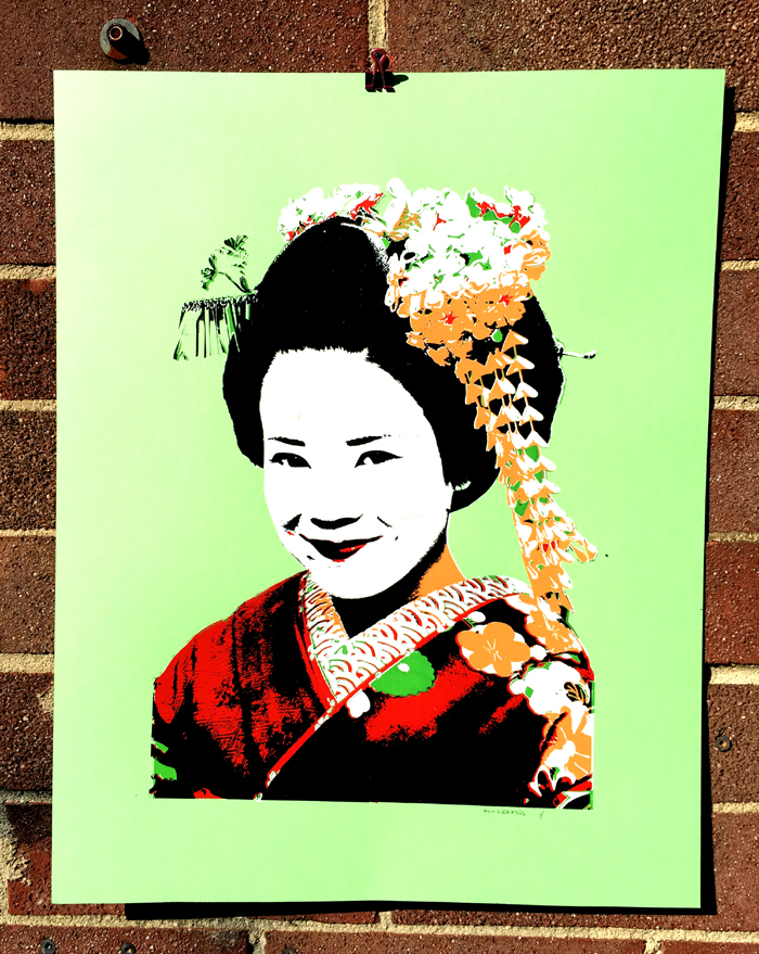 """Geisha Girl"" 5 Color Art Print (texture underprint on her hair!) [BUY PRINT]"