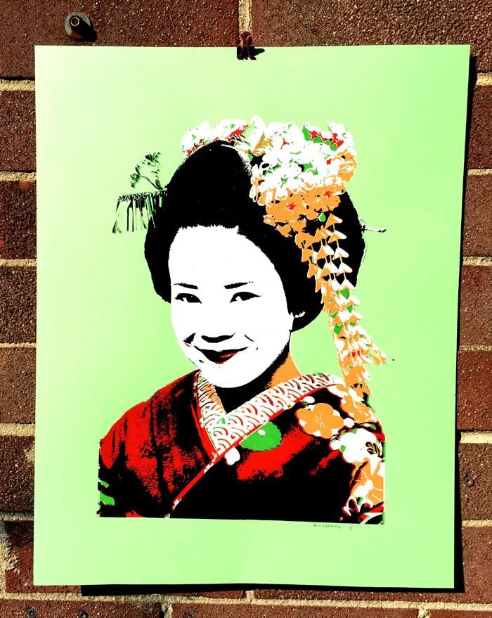 """""""Geisha Girl"""" 5 Color Art Print (texture underprint on her hair!) [BUYPRINT]"""