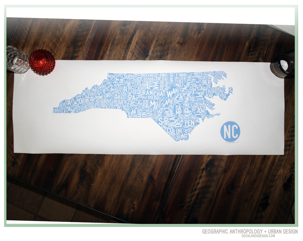 "36"" North Carolina Counties Print"
