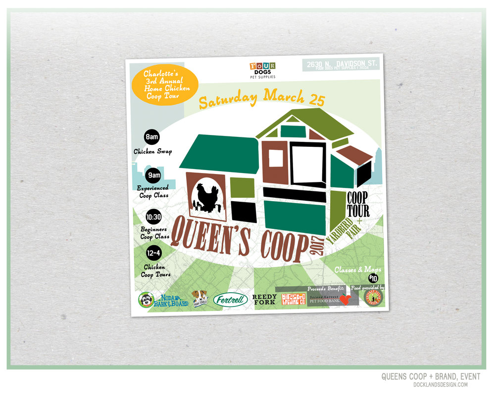 Queens Coop, Chicken Coop Annual Event Brand, Website, T-Shirts and Aesthetic.