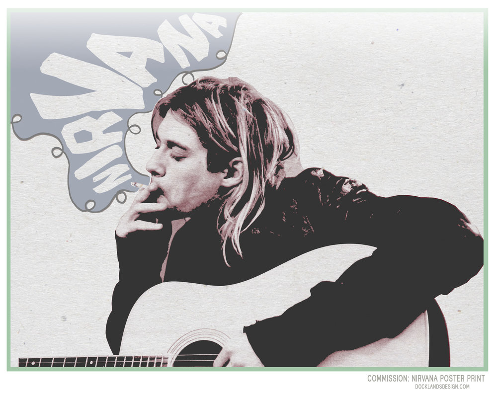 "Mark's Birthday Poster print: Kurt Cobain/Nirvana. This print was just as important and fun for me as for Mark. I grew up with Nirvana's music, and probably owe the culture surrounding them a lot of my own ideals in life. 24"" x 19"" commission print."