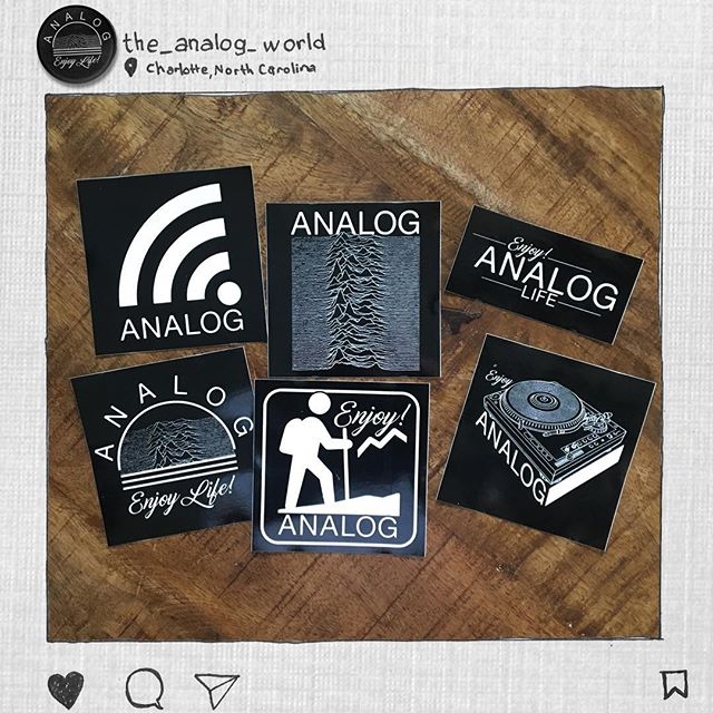 """I printed some 4"""" vinyl stickers to give away. DM your address here and I'll mail you one. No joking, for real. Enjoy life! #analoglife #analog"""