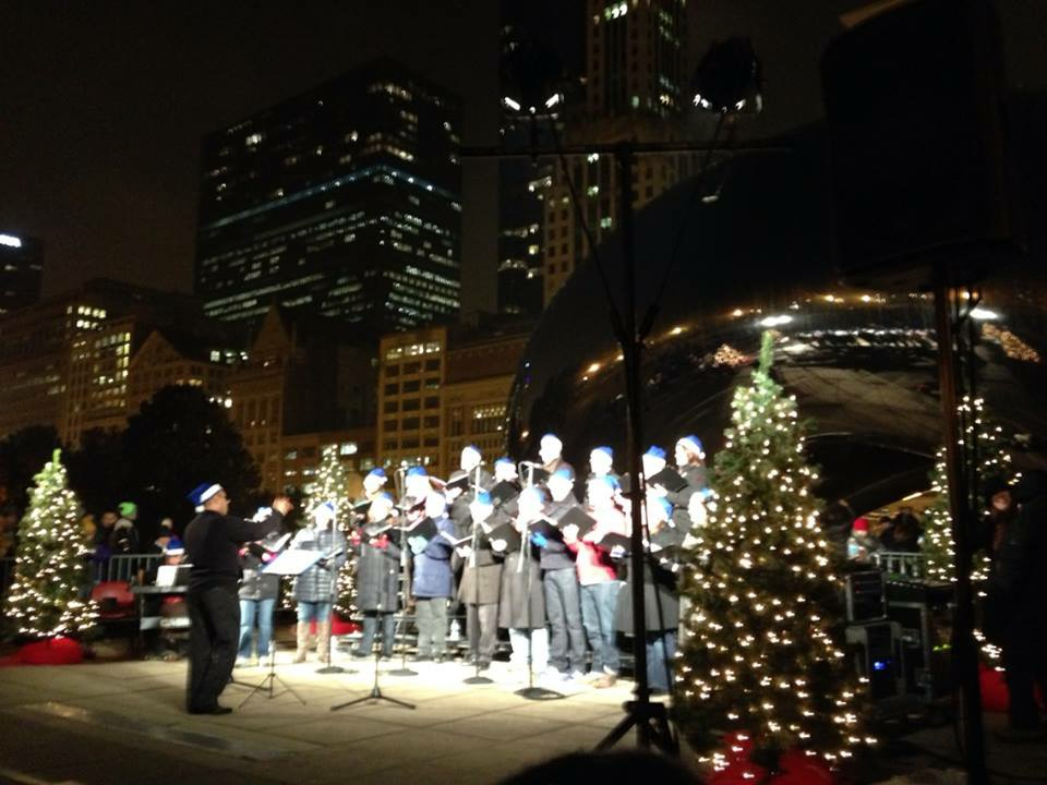 "caroling at ""The Bean"" - Chicago"