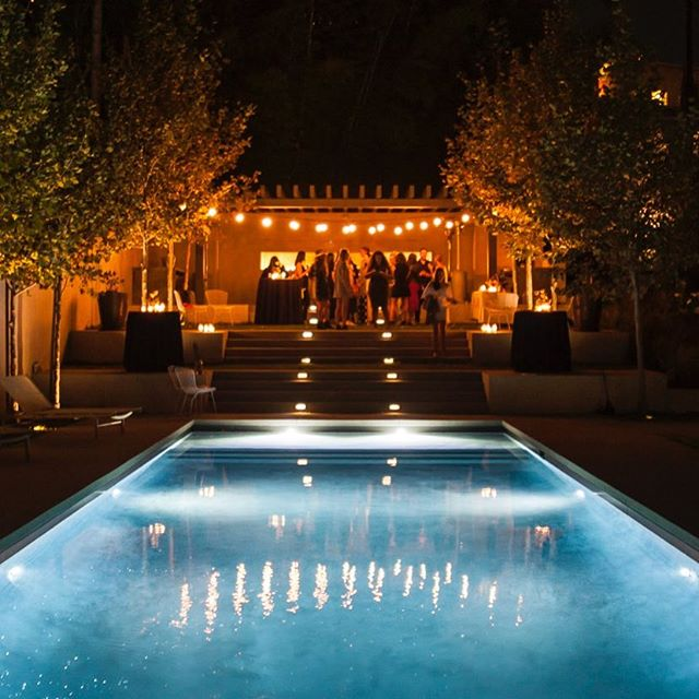 What a beautiful location for a gathering! #Latergram #poolside #nightphotography #eventphotography #lights #deepbluesea #fallevenings #party #launchparty #bossladies #luxeeventphotography