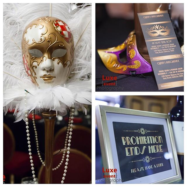 Details & decorations. #holidayparty #stampsdotcom #masquerade #moments #decor #1930s #vintagestyle #mask @wecrushevents