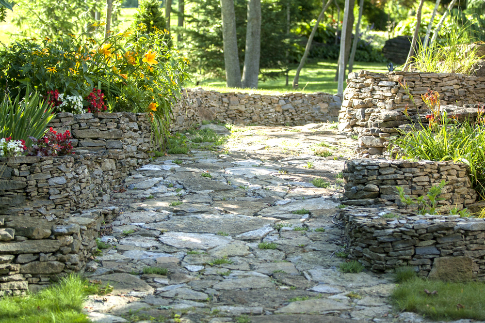 Landscape Design | Landscaping | Terrace Gardens | Dry Lay Stone Path | Waterfront Dream Home | Riverview Design Solutions | Prescott, Ontario, Canada
