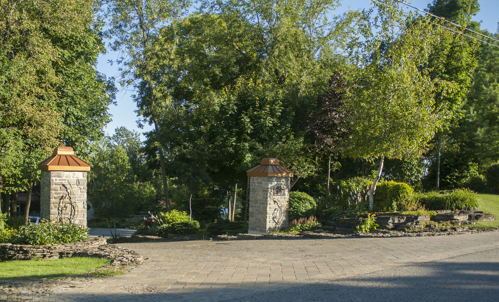 Landscape Design | Landscaping | Entrance Pillars | Waterfront Dream Home | Riverview Design Solutions | Prescott, Ontario, Canada
