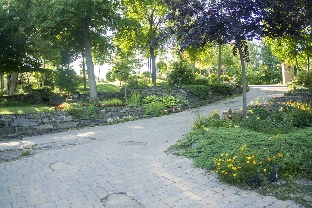 Landscape Design | Landscaping | Terrace Gardens | Driveway | Dry Lay Stone | Waterfront Dream Home | Riverview Design Solutions | Prescott, Ontario, Canada