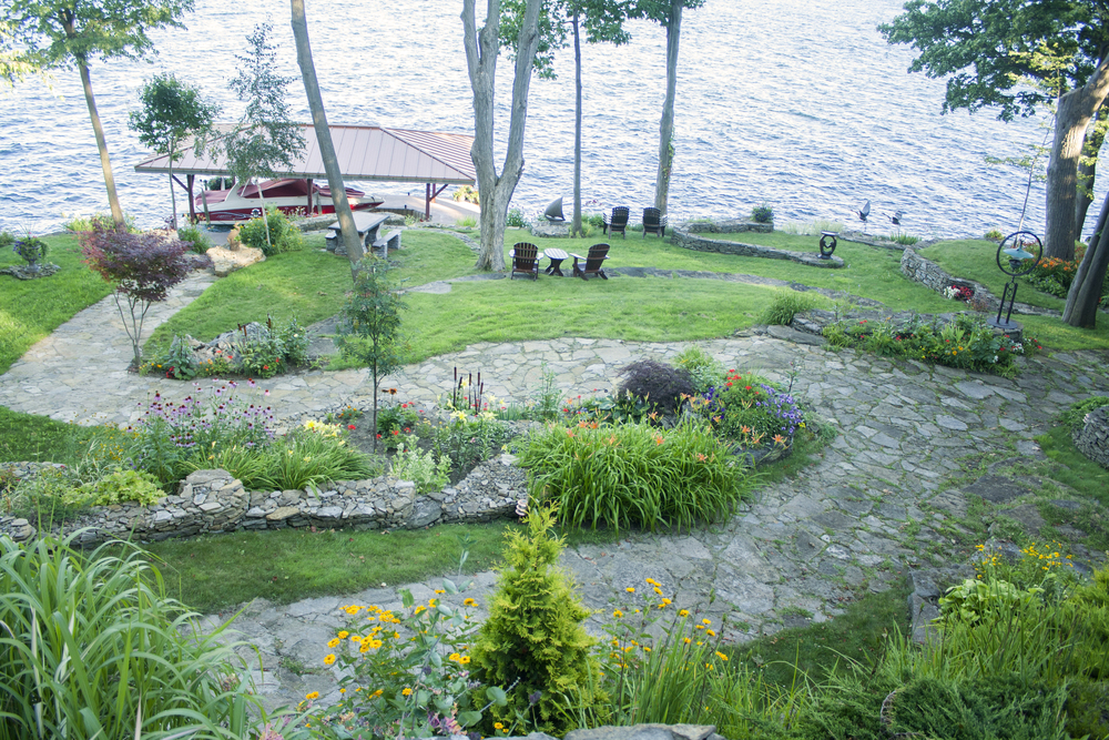 Landscape Design | Landscaping | Terrace Gardens | Dry Lay Stone | Waterfront Dream Home | Riverview Design Solutions | Brockville, Ontario, Canada
