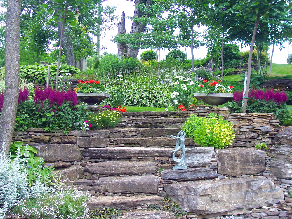 Landscape Design | Landscaping | Terrace Gardens | Dry Lay Stone Steps | Waterfront Dream Home | Riverview Design Solutions | Prescott, Ontario, Canada