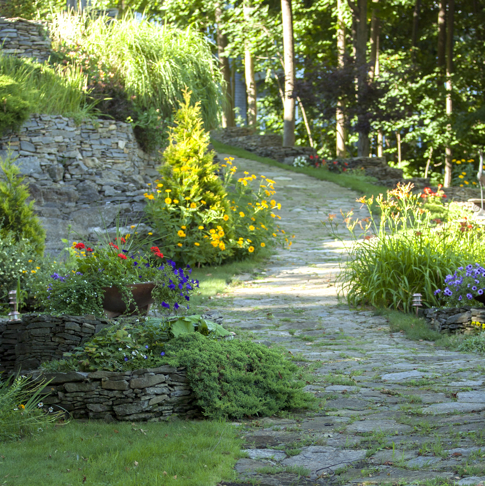 Landscape Design | Terrace Gardens | Dry Lay Stone Path | Waterfront Dream Home | Riverview Design Solutions | Prescott, Ontario, Canada